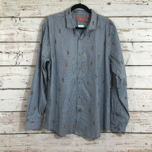 Tori Richard NWT Blue Hula Girl Button Down Shirt